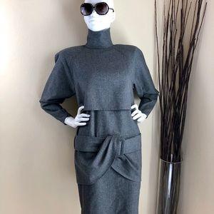 Vintage High Neck Belted Midi Dress